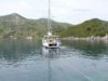 split sailing net – Aquarius sailing Mljet anchor morning